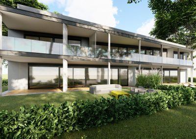 VillaparkAkarattya - látványkép - az egyik épület oldalnézetből
