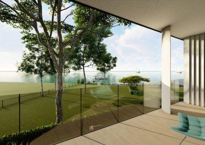 VillaparkAkarattya - látványkép - kilátás a teraszról a Balatonra