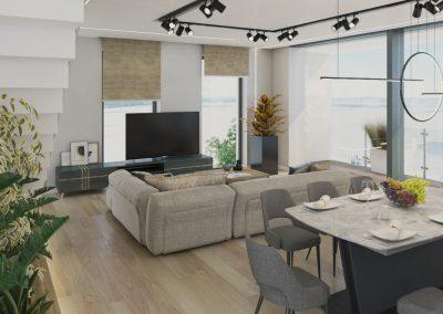 VillaparkAkarattya B01 kétszintes lakás nappali látványterve